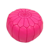 Fuchsia Leather Poof