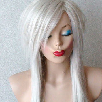 White silver wig. viking/winter/ice party wig. Scene hair.  Long wavy/ curly hair with long side bangs wig for daily use or Cosplay.