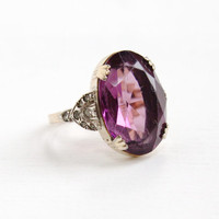 Antique Art Deco 14k Rolled Gold Plated Amethyst Purple & Rhinestone Ring- Size 5 1930s 1940s Hallmarked Uncas Statement Ring Jewelry