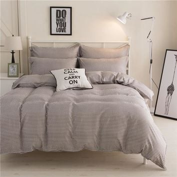 Cool Mecerock Modern Simple Soft Bedding Set Gray Plaid Duvets and Bedding Sets Full Queen King Size Bed Sheet Set Nordic Bed CoversAT_93_12