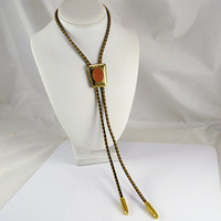 Bolo Tie Red Goldstone - Bullet tips - 2 Color Leatherette - Unisex - Gold Tone Concho - Vintage Cowboy Cowgirl Fashion