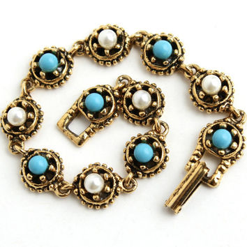 Vintage Faux Turquoise & Pearl Bracelet -  Gold Tone 1960s Signed Goldette Costume Jewelry / Victorian Revival