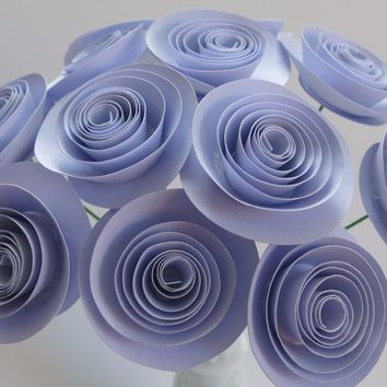 "Lilac Paper flower bouquet purple 12 long stem 1.5"" roses Wedding Centerpiece Decorations Home Decor handmade bouquet of flowers Lavender baby shower decor"