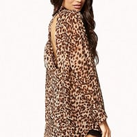 Animal Print Cutout Shirt