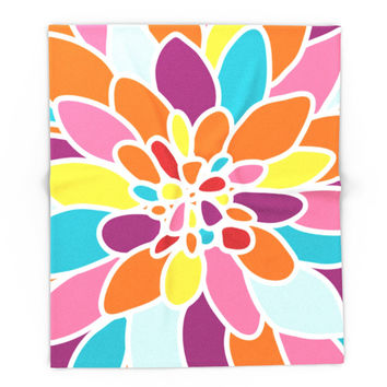 Society6 Happy Dahlia Blanket