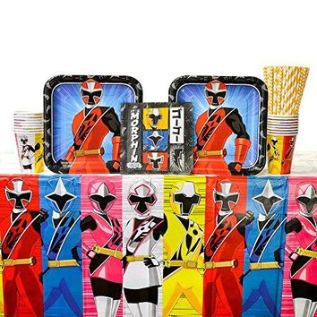 Power Rangers Ninja Steel Party Supplies Pack for 16 Guests - Straws, Lunch Plates, Luncheon Napkins, Cups, and Table Cover