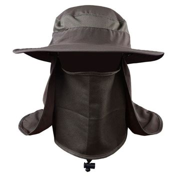 Summer Protective Cap Face Neck Flap Men Military Style Camo Paintball Bucket Hat Outdoor Hiking Camping UV Resistant Sun Hats