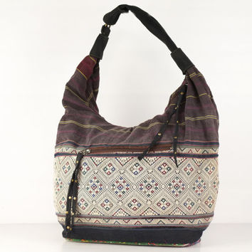 Antique Ethnic Shoulder Bag, Hobo Purse Traditional, Oriental handbag, slouch Bag Gypsy, Hippie, Boho Style