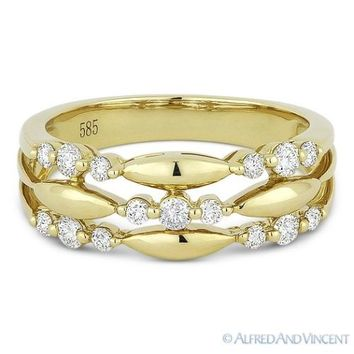 0.37 ct Round Cut Diamond Tri-Cluster Right-Hand Fashion Ring in 14k Yellow Gold