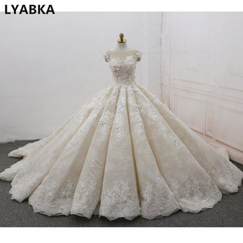 Robe De Mariage Wedding Dress Real Photo Scoop Ball Gown Wedding Dresses With Train Flowers 2018 High Quality Vestido De Noiva