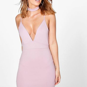 Huda Strappy Detachable Choker Bodycon Dress