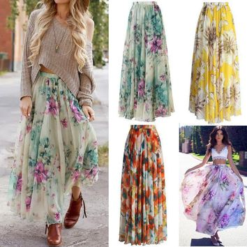 BOHO Women Floral Jersey Gypsy Long Maxi Full Skirt Party Dress Evening Dresses