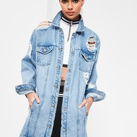 Missguided - Blue Ripped Longer Length Denim Jacket