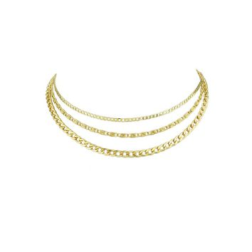 Gold Multi Layers Chain Boho Necklace Women Accessories