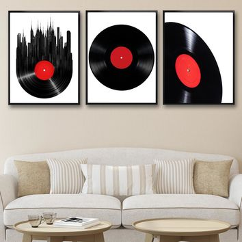 Nordic Classical Vinyl Records CD Wall Art Poster Modern Minimalist Living Room Home Decor Canvas Painting Background No Frame