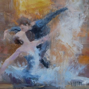 Brown Wall Art Couple in Love Dancer Painting Print - Ballerina Art Print Canvas - Ballet Poster