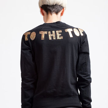The Cream Always Rises To The Top, appliqued holographic lettered graphic sweatshirt