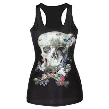 Stylish Sexy Bralette Beach Summer Comfortable Hot Skull Print Strong Character Slim Vest [6049089601]