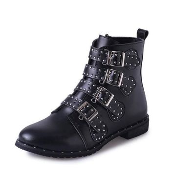 European Women's Leather Motorcycle Boots Women Rivets Buckle Strap Ankle Boots Winter Shoes Woman Booties Plus Size