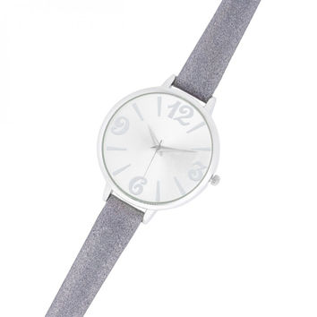 Fashion Watch With Leather Band - Silver