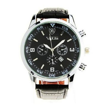 Quartzsiness Men's Military Auto Date Leather Watches New