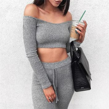2018 Women Tracksuit Fitness Set Sexy Leggings And Pullover Sweatshirt Long Sleeve Skinny Pants Women 2 Piece Sets