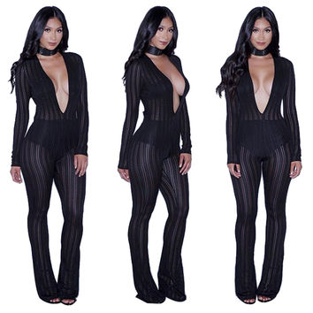 Sheer Black Stripe Patterned Plunging Jumpsuit