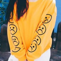 New Yellow Flowers Print Round Neck Long Sleeve Fashion Sweatshirt