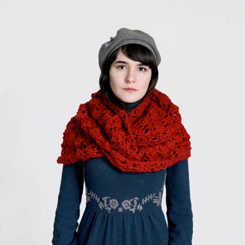 Long Chunky Cowl/Infinity Scarf in Dark Red