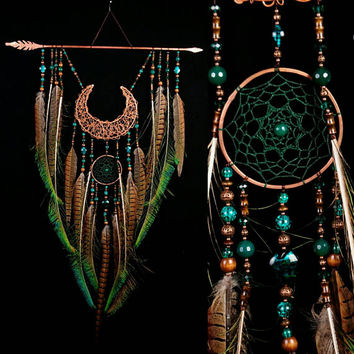 Copper arrow moon dreamcatcher green dreamcatcher brown dreamcatcher copper dreamcatcher native american Indian talisman boho wall decor