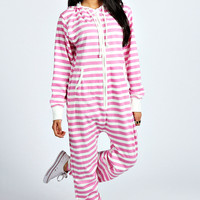 Jessica Striped Hooded Onesuit