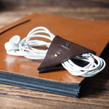 Leather Cord Holder #Dark Brown