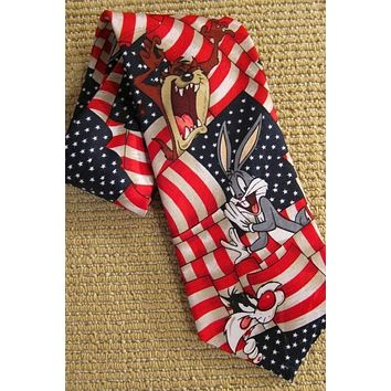 Vintage  Patriotic Lineup Of Looney Tunes Tie