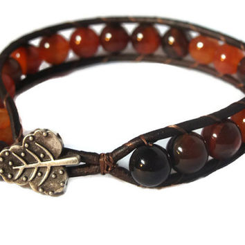 Men's Leather wrap bracelet, gift for men, gift for dad, Indian Agate beads on brown leather, boho jewelry