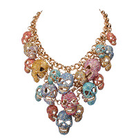 Skull Head Cluster Statement Necklace