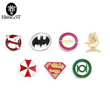 20pcs/lot Deadpool Ghostbusters Batman Brooches Pins Flash Captain America Superman brooches for men badge Hat Tie Tack Brooch