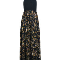 Black Lace-Up Front Floral Maxi Dress