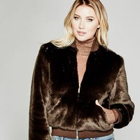Bethany Faux-Fur Bomber Jacket at Guess