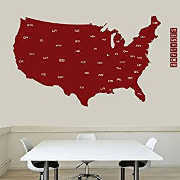 Wall Decal Vinyl Sticker Decals Art Decor Design Map of The USA Mural Modern Map Counrty States Name Word Sign Bedroom Style Dorm (r659)