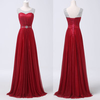 Diament Dark Red Long Backless Bridesmaid Evening Prom Cocktail Party Club Dress