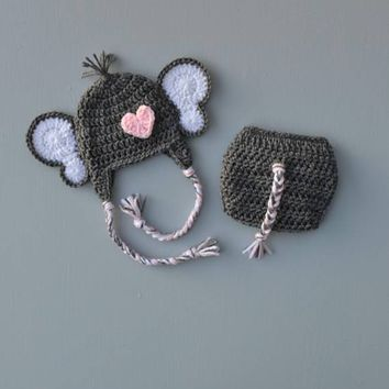 Crochet Heather Grey Elephant Baby Outfit Newborn Photo Prop