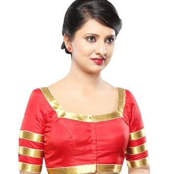Designer Red Silk Front Open Ready-made Saree Blouse Choli SNT X-363-SL