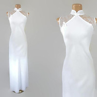 Vintage 80s White Cheongsam Maxi Dress | 1980s Evening Dress | Illusion Neckline | Vintage Wedding Gown | Plus Size | Mesh Open Back | 2X