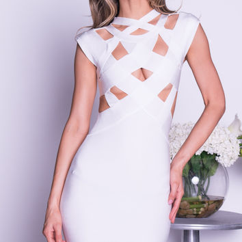 ANIA BANDAGE DRESS IN WHITE
