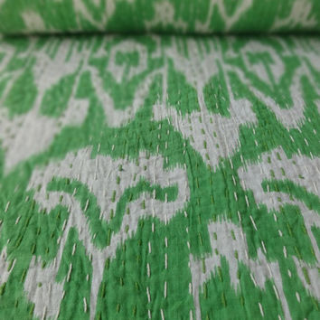 Ikat Kantha Quilt, Handmade Cotton Bed Cover, Twin Size, Green Color, Reversible Kantha Throw, Ikat Print with Hand Kantha Work, India