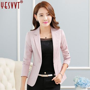 yesvvt 2017 Fashion women blazers office lady suits white blazer women leisure coat 4 color cotton suit jacket blazer plus size