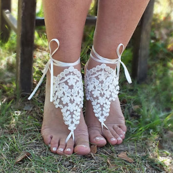 Beach wedding barefoot sandals,  ivory Barefoot , french lace sandals, wedding anklet, FREE SHIP