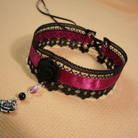 Romantic Choker with Rose and Beads Pendant, Black and Hot Pink Necklace, Rococo, Lace, Feminine, Baroque,Gothic, Renaissance