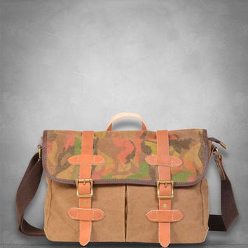 January Sale New  Camouflage Camo Genuine Leather and Canvas Messenger Bag laptop tablet A4 documents business