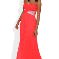 Dress with Ruched Bodice and Stone Side
